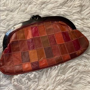 Vintage bohemian Leather patchwork clutch